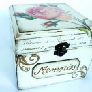 Memories Box. Girls Treasure, Jewelry Box. Sewing Keepsake. Rustic Wooden Vintage Style Baby Shower