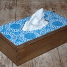 Tissue Box, Wooden Box Cover, Blue Mosaic Decoration. Kleenex Wooden Tissue Dispenser