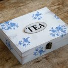 Wooden Rustic Floral Shabby Tea Box. Christmas Gift, Blue Flowers Home Decor