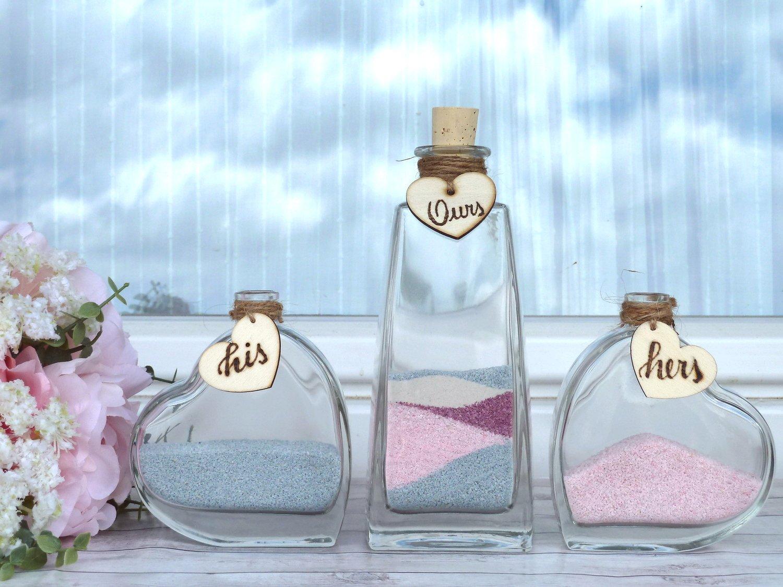Wedding Sand Ceremony, Heart Shaped Botles, Personalized. Wedding gift. Unity Ceremony.