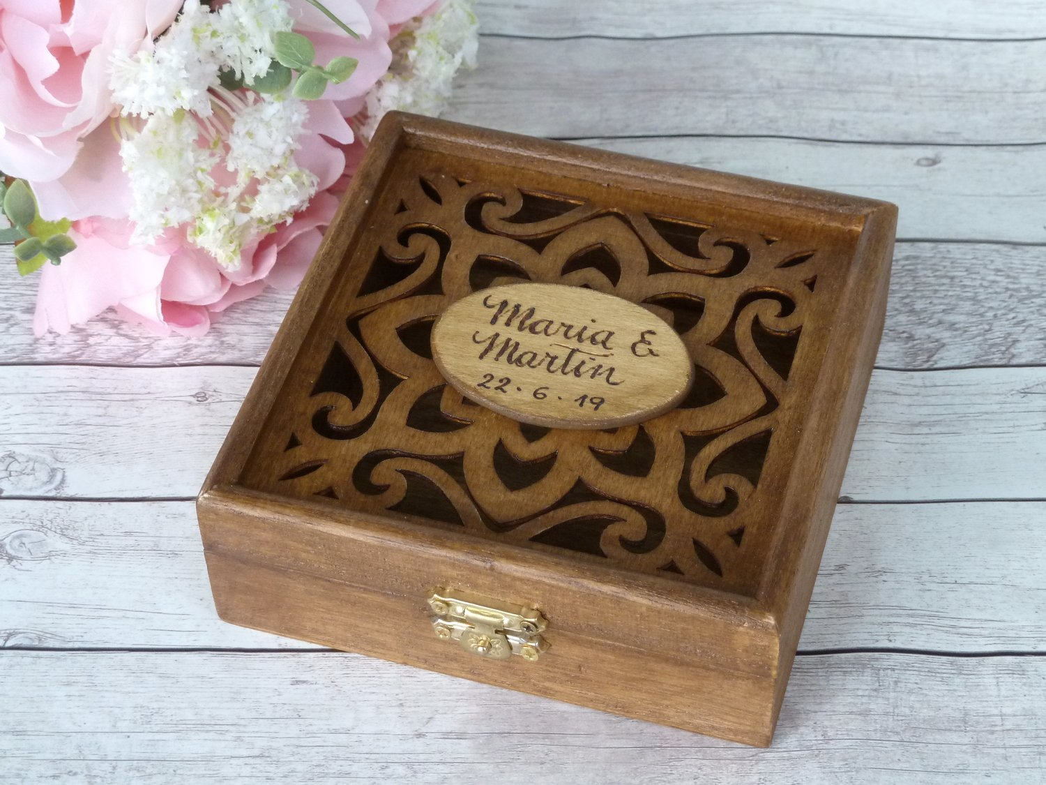 Wedding Arras Coins Box. Personalized, Engraved Ducat Box. Wedding Gift
