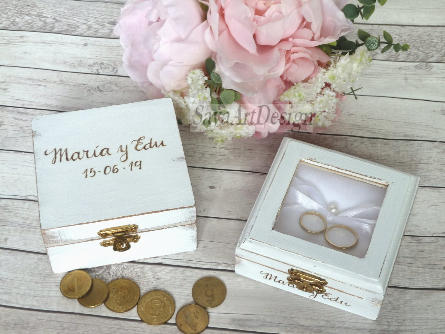 Wedding Arras Box Ring Box Set. White Wedding Ceremony Coins and Ring Pillow Alternative.