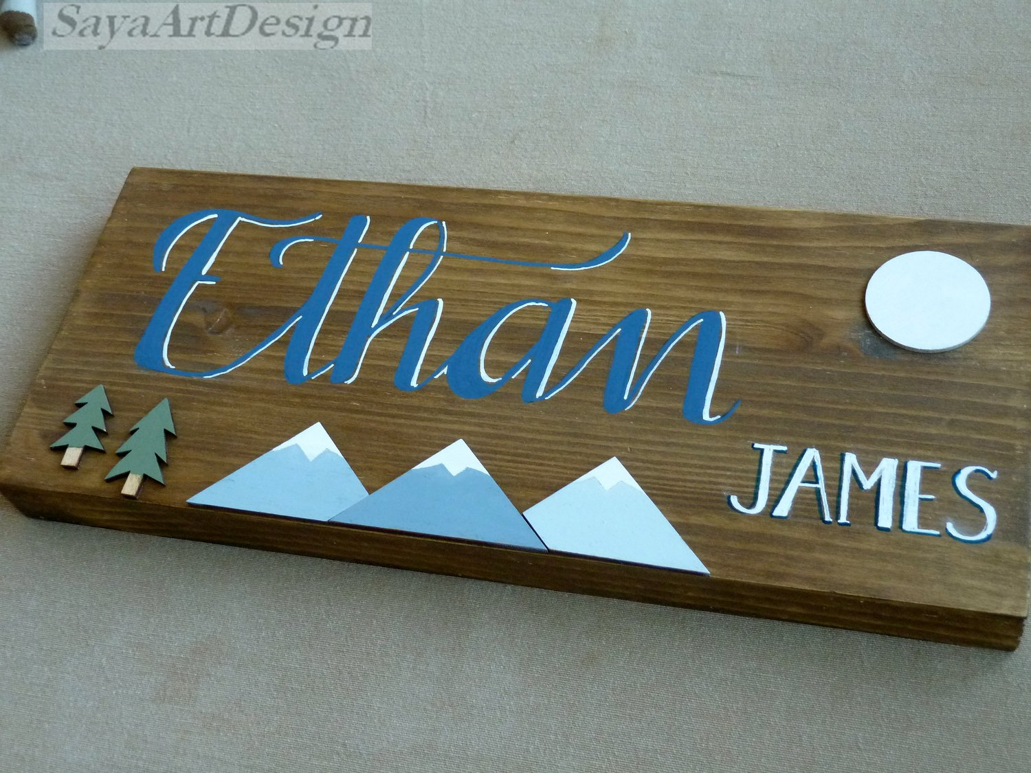 Personalized Wooden Baby Name Sign. Wall Hanging. Customized Nursery Room Decor