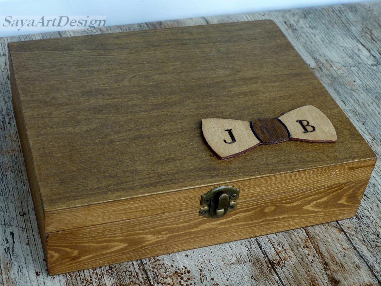 Best Man, Groomsmen Gift Box. Personalized Man's Jewelry Box. Wooden Cigar Box. Custom Box for Men.