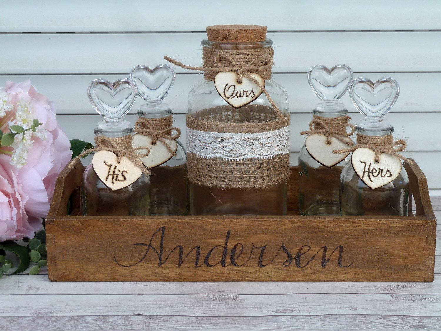 Rustic Wedding Unity Sand Ceremony Set for 5 family members. Personalized Set.
