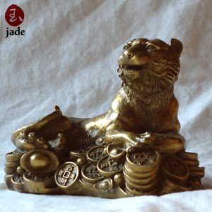 Chinese Money Leopard bronze Statue