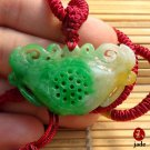 Tri-colors good luck jade ingot (yuan bao) pendant necklace