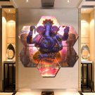 Lord Ganesha Wall Art Canvas Painting Poster Print Home Decor 7 Hexagon Panels.