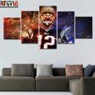 New England Patriots Wall Art Tom Brady Football Decor Painting Canvas Framed.