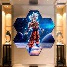 Goku Ultra Instinct Wall Art Painting Canvas Poster Decor Hexagon 7 Panels.