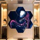 Marvel Venom Wall Art Canvas Painting Poster Print Home Decor 7 Hexagon Panels.