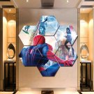 Spider man 2 Wall Art Canvas Painting Poster Print Home Decor 7 Hexagon Panels.