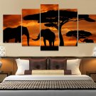 Elephants Canvas Wall Art  Framed Decor Poster Print