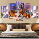 Disney Lady And Tramp Canvas Wall Art  Framed Decor Poster Print