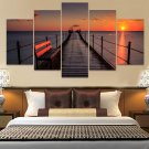 Dock  Sunrise Ocean Landscape Canvas Wall Art  Framed Decor Poster Print