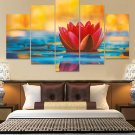 Colorful Lotus Flower Canvas Wall Art  Framed Decor Poster Print