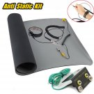 Black Desktop Anti Static ESD Grounding Mat + Wrist Strap + Ground + Coiled Cord