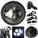6.5'' Motorcycle Universal Matte Black LED Headlight High Low Beam Cafe Racer