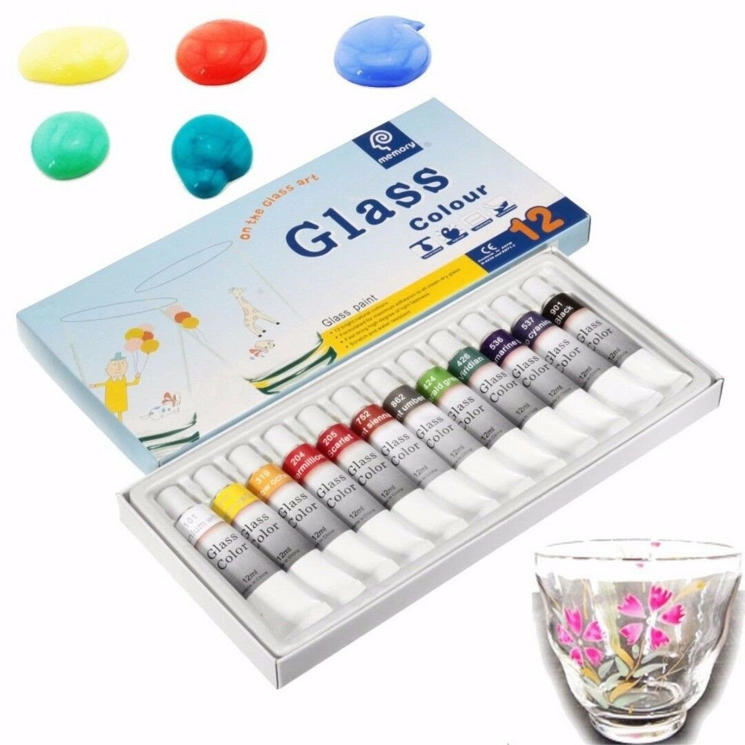 12 Color 12ml Waterproof Glass Paint Tube Stain Bright Painting Craft Tool DIY