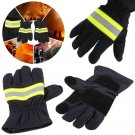 Pair of Non-slip Heat Proof  Fire Glove Firefighting Gloves Black Canvas Tools