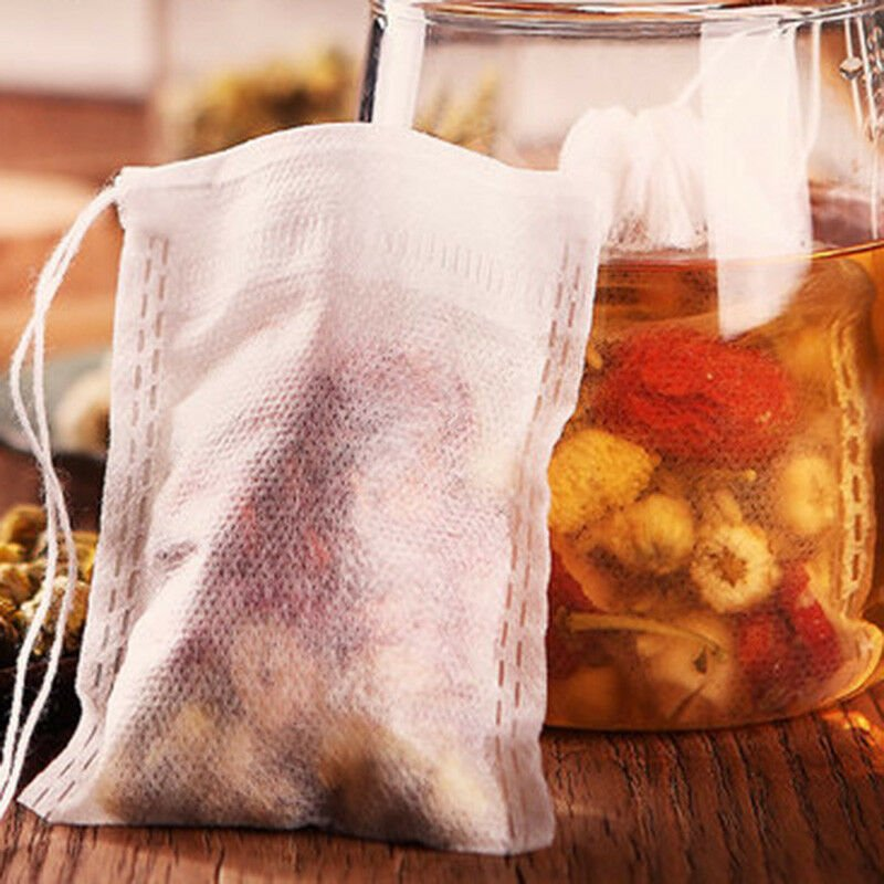 100x 8X10cm Nonwovens Muslin Drawstring Reusable Bags Spices Herbs Tea Soaps Set