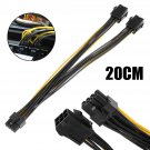 Dual 6 Pin 18AWG Female To Single 8 Pin Male PCIe Graphics Cards Power Cable