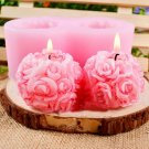 3D Rose Flower Ball Shaped Silicone Decorative Soap Candle Molds Mould Craft DIY