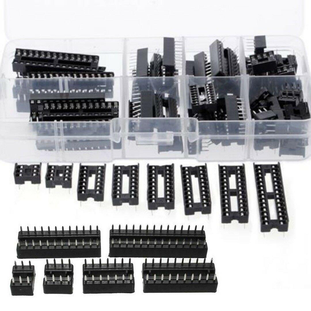 66 Pcs DIP IC Sockets Adaptor Solder Type Socket Kit 6 8 14 16 18 20 24 28 Pins