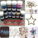 10 Colors 10g UV Resin Dye Colorant Pigment + 10pcs Key Open Bezel Pendant Set
