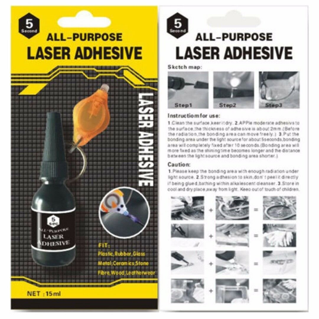 All Purpose Laser 5Second Rapid Fix Adhesive UV Light Repair Cure Tool Glue 15ml