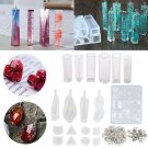 129pcs Silicone Resin Pendant Molds Jewelry Casting Molds Screw Eye Pins Set