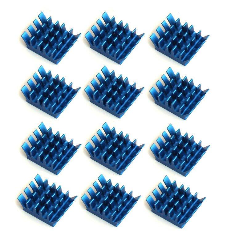 12pcs 13x14x6mm Blue Aluminum Heatsink Adhesive For Memory RAM IC Chip Tool Kit