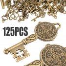 125pcs Creative Vintage Bronze Skeleton Keys Fancy Heart Bow Pendant Decor Craft