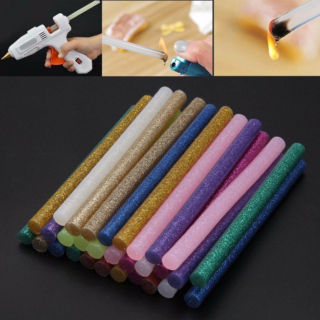 30Pcs 100mm Multicolor Glitter Hot Melt Glue Sticks Adhesive Assorted DIY Tools