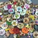 100Pcs Mixed Pattern Wood Scrapbooking Buttons 2 Holes Sewing 20mm Craft DIY