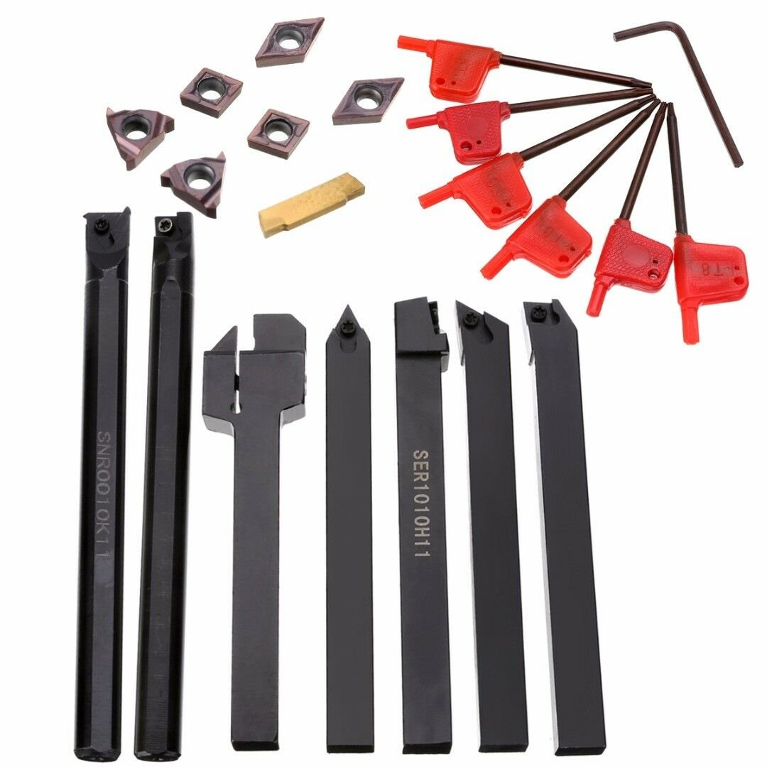 7pcs/Set 10mm Metal Lathe Turning Tool Holder Boring Bar + 7pcs Carbide Inserts