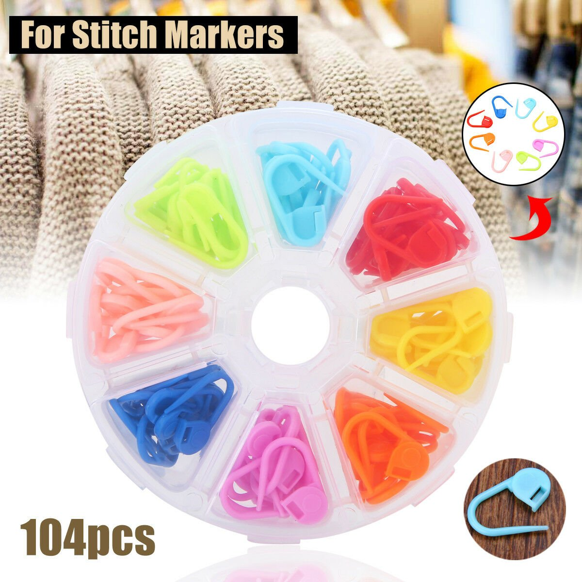 104pcs/set Amazing Knitting Crochet Locking Stitch Needle Clip Markers Holder