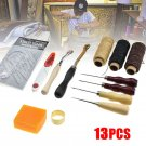 13Pcs Leather Craft Tools Hand Stitching Sewing Kit Thread Awl Waxed Thimble Set