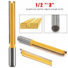 """Extra Long Straight Router Bit Cutting - 1/2"""" Dia X 3"""" Length - 1/2"""" Shank"""