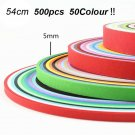 500 Stripes Quilling Paper 5mm Width Multicolor For DIY Craft Art 50 Colors