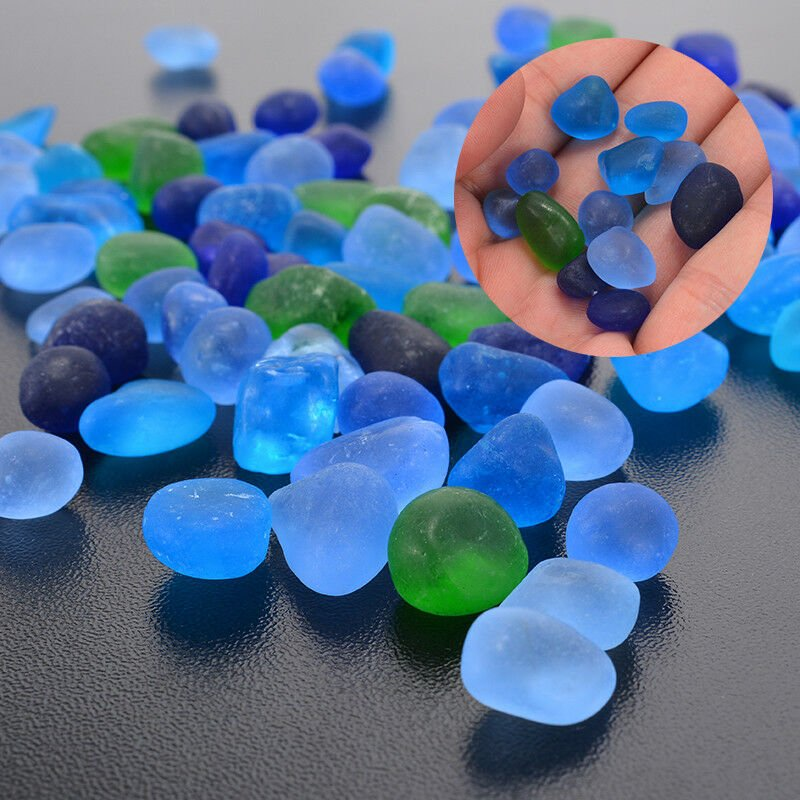 100pcs Set Sea Beach Glass Beads Blue Green Mixed Colors Jewelry Pendant 12-18mm