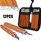 12Pcs Wood Carving Hand Chisel Set Kit Woodworking Tool Perfect For Beginner Set