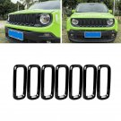7x Front Grill Grille Insert Guard Cover Hood Trim For Jeep Renegade 2015-2018