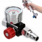 "1/4"" BSP Air Regulator Valve Tool Tail Pressure Gauge w/ Nozzle For Spray Tool"