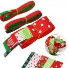 17Pcs Multi-color Christmas Satin Grosgrain Ribbon Assorted Kit Sewing Craft Set