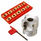 "50mm 2"" Face Milling Cutter CNC End Mill BAP400R-50-22-4F + 10X APMT1604 Inserts"