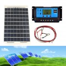 10W Solar Panel + 4m cable 30A 12v 24v LCD Battery Charger Controller