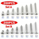 200Pcs M3 Stainless Steel Pan Flat Head Self-Tapping Screws Assortment Kits DIY
