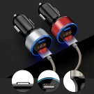 3.1A Dual USB Port Car Charger Digital LED Display Lighter Adapter Voltmeter