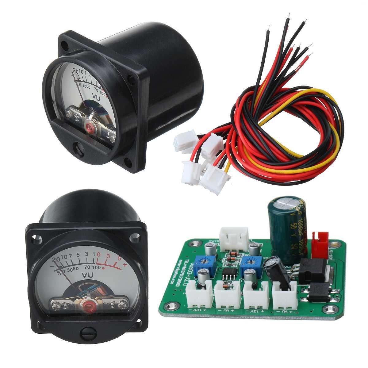 2pc 10-12V VU Panel Meter 500UA Warm Back Light Recording +Cable  +Driver Module